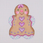 "BB 0932 Gingerbread / Girl / Pink, Aqua, and Purple Striped Heart Buttons 3.5"" x 2.75""	18 Mesh Burnett And Bradley"