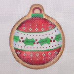 "BB 0961 Gingerbread Ball / Red and White with Band of Holly 3"" Round	18 Mesh Burnett And Bradley"