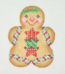 "BB 1084 Gingerbread / Girl  Red & Green Star Buttons 3.5"" x 2.75""	18 Mesh  Burnett And Bradley"