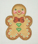"BB 1083 Gingerbread / Man / Red Bow Tie / Green Heart Buttons 3.5"" x 2.75""	18 Mesh  Burnett And Bradley"