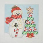 "BB 1147 Snowman Square / Candy Cane Tree 4.5"" x 4.5"" 18 Mesh  Burnett And Bradley"