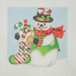 "BB 1148 Snowman Square / Candy Cane Sock 4.5"" x 4.5""  18 Mesh  Burnett And Bradley"