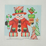 "BB 1152 Snowman Square / Candy Cane Top Hat & Trees  4.5"" x 4.5"" 18 Mesh  Burnett And Bradley"