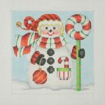 "BB 1150 Snowman Square / Candy Cane Wreath 4.5"" x 4.5"" 18 Mesh  Burnett And Bradley"