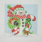 "BB 1151 Snowman Square / Large Candy Cane & Peppermint 	4.5"" x 4.5"" 18  Mesh  Burnett And Bradley"
