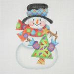 "BB 1168 Snowman / Stick Arms Tree 4.5"" x 3"" 18 Mesh  Burnett And Bradley"