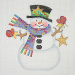 "BB 1167 Snowman / Stick Arms Star 4.25"" x 4.2518 Mesh  Burnett And Bradley"