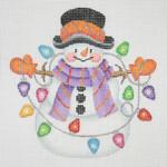 "BB 1166 Snowman / Stick Arms String of Lights 4.5"" x 4.5""18 Mesh  Burnett And Bradley"