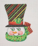 "BB 1226  Snowman Face / Top Hat with Stripes 4"" x 3""18 Mesh  Burnett And Bradley"