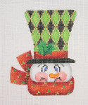 "BB 1223 Snowman Face / Top Hat with Diamond Pattern 4"" x 3""	18 Mesh  Burnett And Bradley"