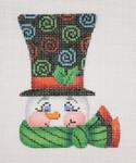 "BB 1222  Snowman Face / Top Hat 4"" x 3""18 Mesh  Burnett And Bradley"