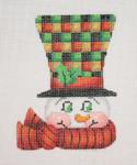 "BB 1221 Snowman Face / Top Hat 4"" x 3"" 18  Mesh  Burnett And Bradley"