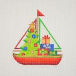 "BB 1312 Sailboat / Blue / Christmas Tree & Packages 5"" x 4.5"" 18 Mesh  Burnett And Bradley"