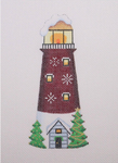 "BB 1320 By the Sea / Lighthouse / Burgundy & White / Snowflakes	 6"" x 2.75"" 18 Mesh  Burnett And Bradley"