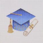 "BB 1336 Graduation 201_ Ornament / Blue  3.75"" x 3.25"" 18 Mesh  Burnett And Bradley"