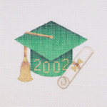 "BB 1337 Graduation 201_ Ornament / Green 3.75"" x 3.25"" 18 Mesh  Burnett And Bradley"