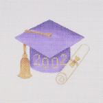 "BB 1338Graduation 201_ Ornament / Purple 3 1/2"" x 3""18 Mesh  Burnett And Bradley"