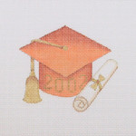 "BB 1339 Graduation 201_ Ornament / Burnt Orange 3.75"" x 3.25"" 18 Mesh  Burnett And Bradley"