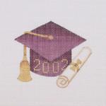 "BB 1340 Graduation 201_ Ornament / Maroon 3.75"" x 3.25""18 Mesh  Burnett And Bradley"