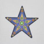 "BB 1395 Christmas Ornament / Star / Blue / Green & Red  5"" x 5"" 18  Mesh  Burnett And Bradley"