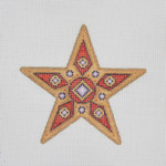 "BB 1396 Star / Red & Gold / Purple Jewels 5"" x 5"" 18  Mesh  Burnett And Bradley"