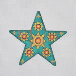 "BB 1398 Star / Aqua / Red Jewels 5"" x 5"" 18 Mesh  Burnett And Bradley"