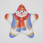 "BB 1401 Mini-Star Snowman / Blue Vest / Red Scarf & Hat 3.5"" x 3.5"" 18 Mesh  Burnett And Bradley"