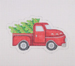 "BB 1475 Red Pickup With Decorated Tree 3.5"" x 5.25""18 Mesh	Burnett And Bradley"