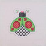 "BB 1552 Lady Bug / Green / Red / Black  3.25"" x 3.25"" 18 Mesh Burnett And Bradley"