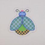 "BB 1563 Lady Bug Blue Green Yellow 3.25"" x 3.25"" 18 Mesh Burnett And Bradley"