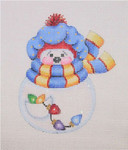 "BB 1586 Snowball / Blue Sock Hat, Scarf, Christmas Lights In Pocket 4.25"" x 3.5"" 18 Mesh Burnett And Bradley"
