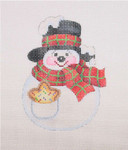 "BB 1580 Snowball / Black Top Hat, Scarf, Cookie In Pocket 4"" x 3.25"" 18 Mesh Burnett And Bradley"