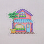 "BB 1661	Beach House / Peach / Blue / Purple 4"" x 4'' 18 Mesh Burnett And Bradley"