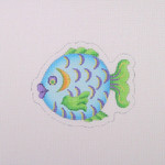 "BB 1632 Fish / Blue, Green, Purple 3.25"" x 4"" 18 Mesh Burnett And Bradley"