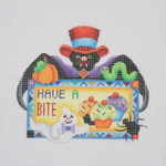 "BB 1628 Bat Holding a Sign ""Have A Bite"" 4.5"" x 5"" 18 Mesh Burnett And Bradley"