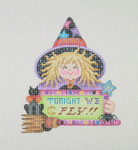 "BB 1627 Witch Holding a Sign ""Tonight We Fly""5.5"" x 5"" 18 Mesh Burnett And Bradley"