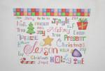 """BB 1720 Sock Top / Christmas Words 7.5"""" x 10.5""""    18 Mesh Burnett And Bradley"""