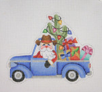 "BB 1735 Santa on the move in a Truck  4.75"" x 5.75"" 18 Mesh Burnett And Bradley"