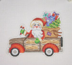 "BB 1736 Santa on the move in a Woodie Station Wagon  4.5"" x 5.5"" 18 Mesh Burnett And Bradley"