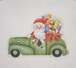 "BB 1737	Santa on the move in a Antique Car  4"" x 5"" 18 Mesh Burnett And Bradley"