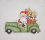 "BB 1737Santa on the move in a Antique Car  4"" x 5"" 18 Mesh Burnett And Bradley"