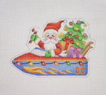 "BB 1738 Santa on the move in a Speed Boat  3.75"" x 5.5"" 18 Mesh Burnett And Bradley"