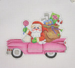 "BB 1739 Santa on the move in a Pink Cadillac 4.25"" x 5.75"" 18 Mesh Burnett And Bradley"