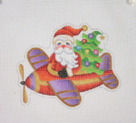"BB 1740 Santa on the move in a Airplane  4.25"" x 5.25"" 18 Mesh Burnett And Bradley"