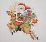 "BB 1742 Santa on the move on a Flying Reindeer  6"" x 4.5"" 18  Mesh Burnett And Bradley"