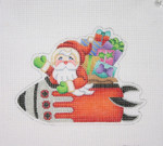 "BB 1741 Santa on the move in a Rocket  4"" x 5.5"" 18  Mesh Burnett And Bradley"