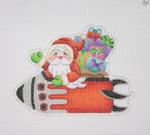 "BB 1741Christmas Ornament / Santa on the move in a Rocket  5 1/2"" 18  Mesh Burnett And Bradley"