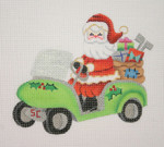 "BB 1745 Santa on the move in a Golf Cart 4.75"" x 5.5"" 18 Mesh Burnett And Bradley"
