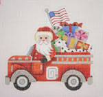 "BB 1747 Santa on the move in a Fire Truck  6.25"" x 6.25"" 18 Mesh Burnett And Bradley"