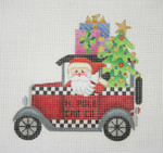 "BB 1748 Santa on the move in a N. Pole Cab  5.5"" x 5.5"" 18 Mesh Burnett And Bradley"
